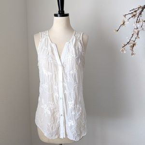 TINY Anthropologie Embroidered Button Sheer Tank